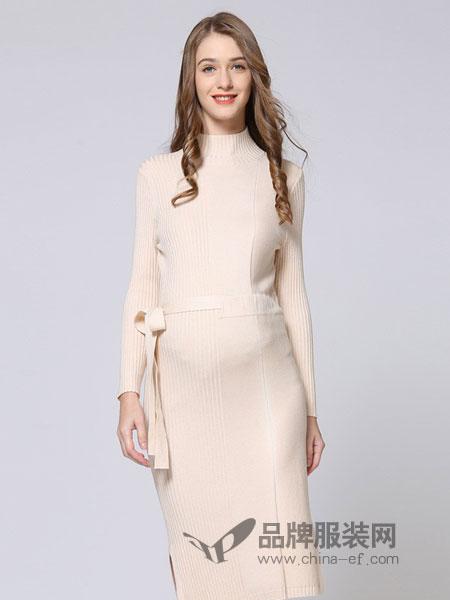 惠葆孕妇装品牌2018秋冬优雅中长款收腰系带毛衣