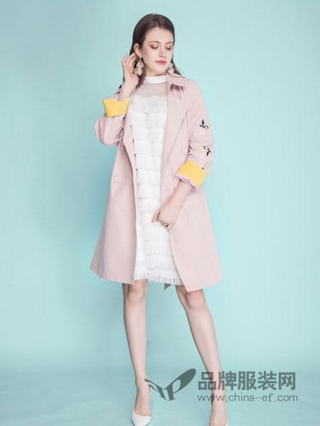 OUYUE女装品牌2019春季淑女文艺范中长款外套