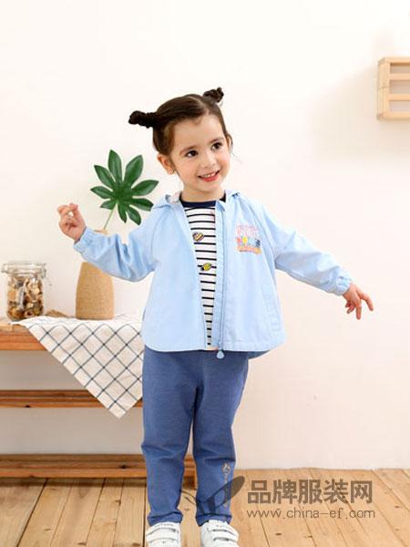 棉果果童装品牌2019春季女童纯色褶皱拉链外套