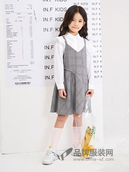 infkids童装品牌2019春夏新款压褶荷叶边格纹女孩吊带裙