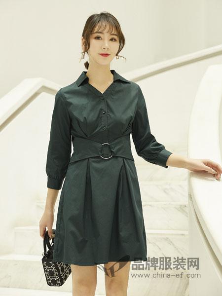 红雨鸶女装品牌2019春季修身韩版时尚系带衬衫领中长款连衣裙