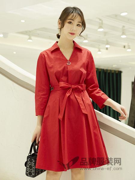 红雨鸶女装品牌2019春季韩版修身时尚气质翻领连衣裙