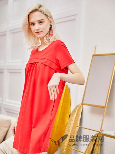 红雨鸶女装品牌2019春季显瘦纯色棉麻连衣裙中长款