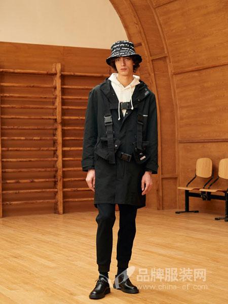 GRSAGA男装品牌2019春季潮流抽绳阔腿工装束口裤