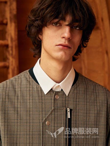 GRSAGA男装品牌2019春季格纹印花短袖休闲衬衫