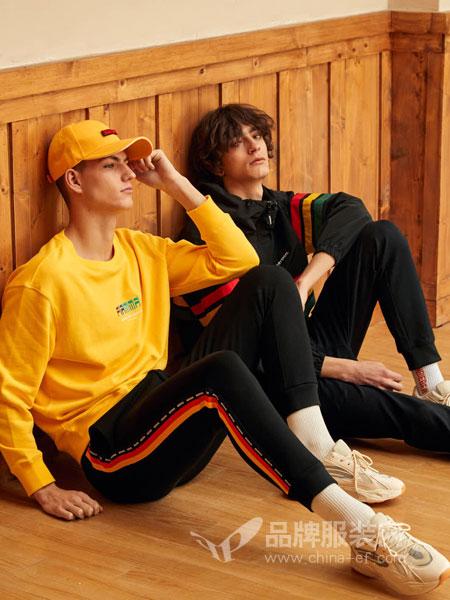 GRSAGA男装品牌2019春季新款黄色圆领卫衣潮