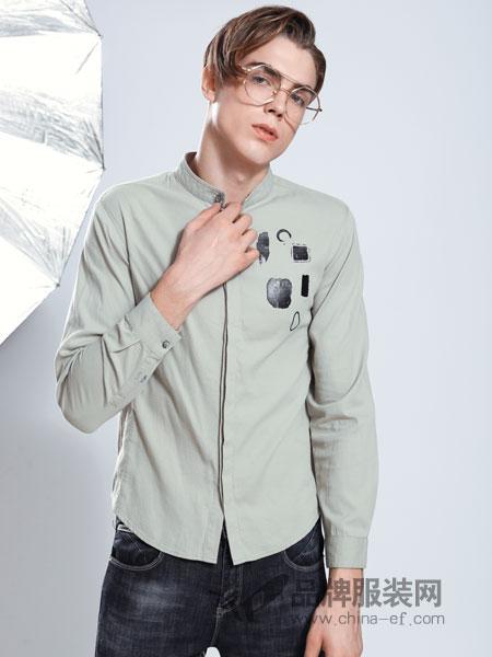 莎斯莱思男装品牌2019春季男士衬衫长袖修身衬衫
