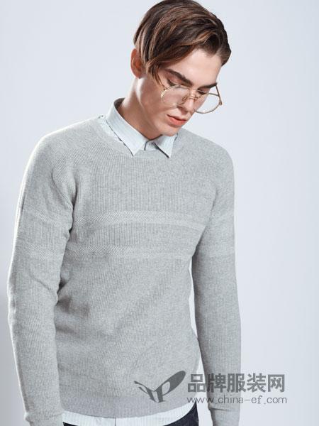莎斯莱思男装品牌2019春季时尚衬衫领假两件宽松针织衫毛衣