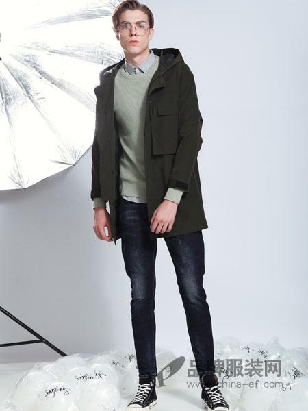 莎斯莱思男装品牌2019春季棕绿色长款风衣外套连帽