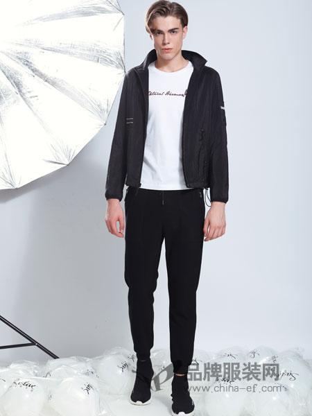 莎斯莱思男装品牌2019春季潮流修身帅气休闲拉链衫上衣外套潮