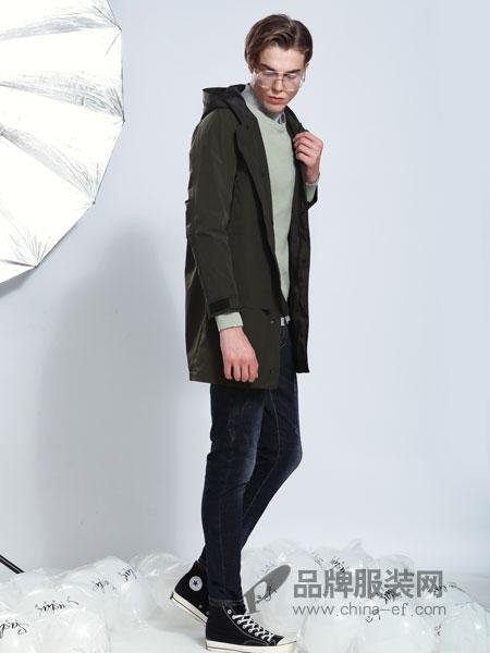 莎斯莱思男装品牌2019春季新款 连帽长袖抽绳纯色气质外套