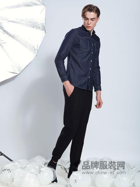 莎斯莱思男装品牌2019春季潮牌男士长袖衬衫印花休闲