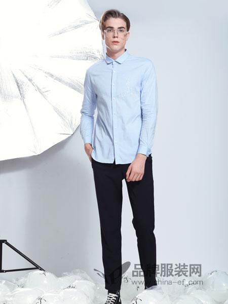 莎斯莱思男装品牌2019春季男装纯棉合身版纯色长袖衬衫