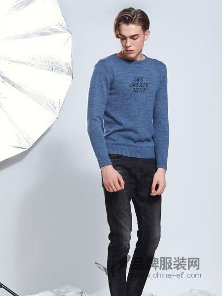 莎斯莱思男装品牌2019春季新款韩版圆领针织衫