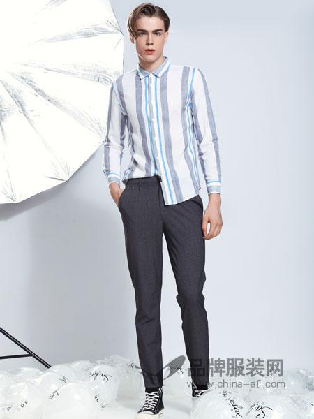 莎斯莱思男装品牌2019春季长袖修身韩版潮流帅气商务休闲纯棉衬衣