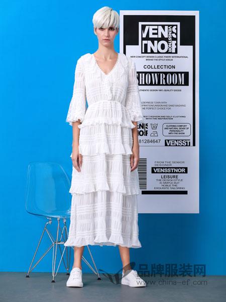 维斯提诺女装品牌2019春季镂空蕾丝棉质中长连衣裙