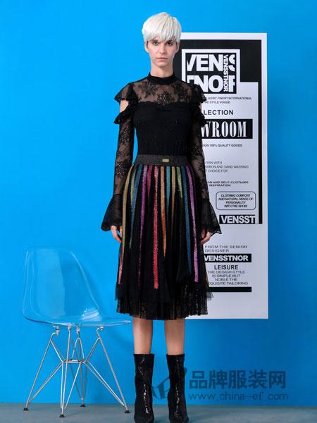 维斯提诺信誉最好的彩票网平安彩票网2019春季透视肩针织衫+拼色半身裙两件套时尚套装裙