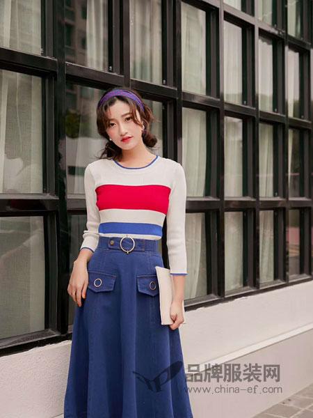 M+女装品牌2019春夏新款韩版洋气深秋套装两件套连衣裙