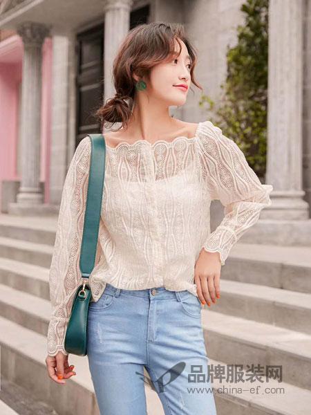 M+女装品牌2019春夏蕾丝刺绣喇叭袖镂空两件套气质衬衣