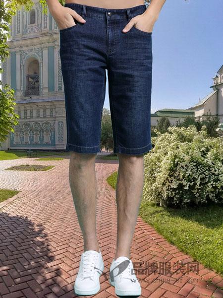 皇卡男装品牌2019春季牛仔短裤 宽松中裤五分裤