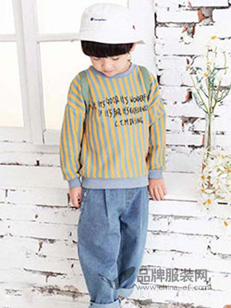 快乐精灵童装品牌2019春季儿童女童男童上衣竖条卫衣