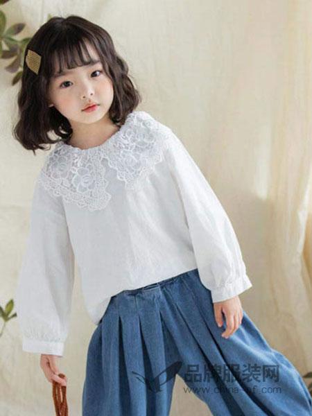 快乐精灵童装品牌2019春季长袖衬衫甜美百搭衬衣