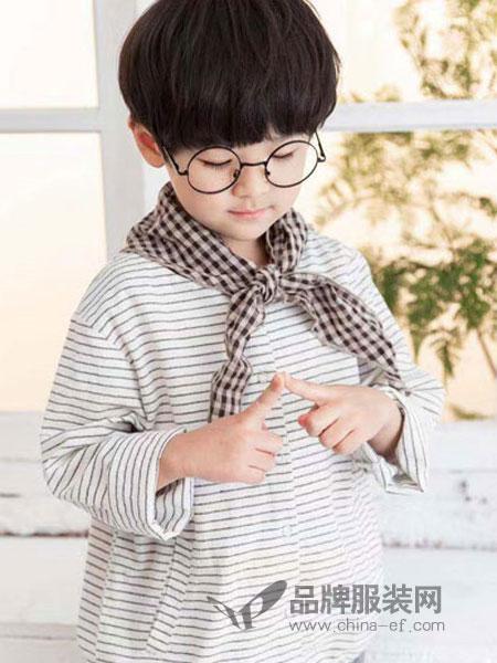 快乐精灵童装品牌2019春季条纹休闲上衣