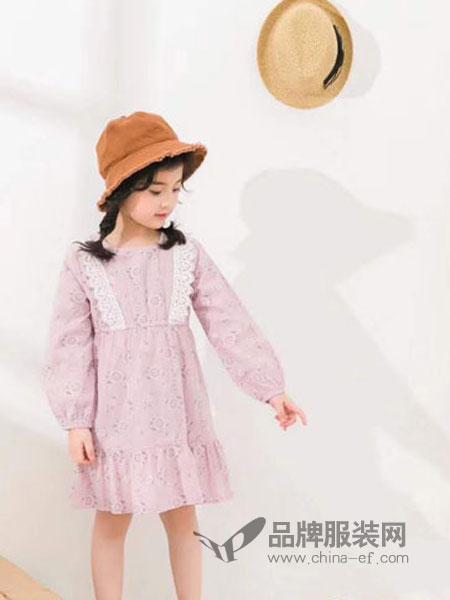 快乐精灵童装品牌2019春季蕾丝大领子连衣裙束腰