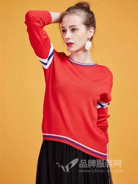 粤韵女装品牌2019春季新品 修身显瘦螺纹下摆显瘦针织上衣