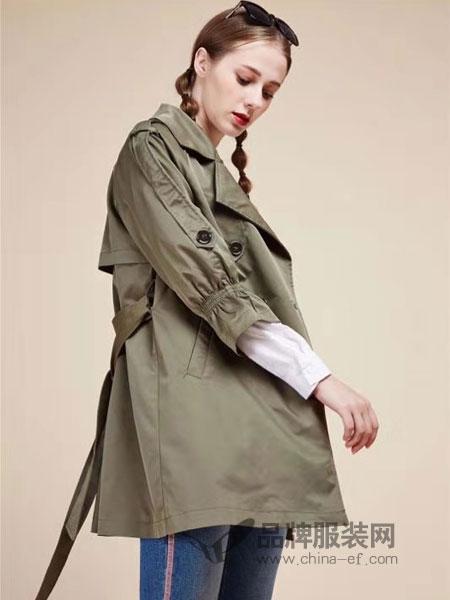 粵韻女裝品牌2019春季新款雙排扣過膝大衣寬松顯瘦薄款