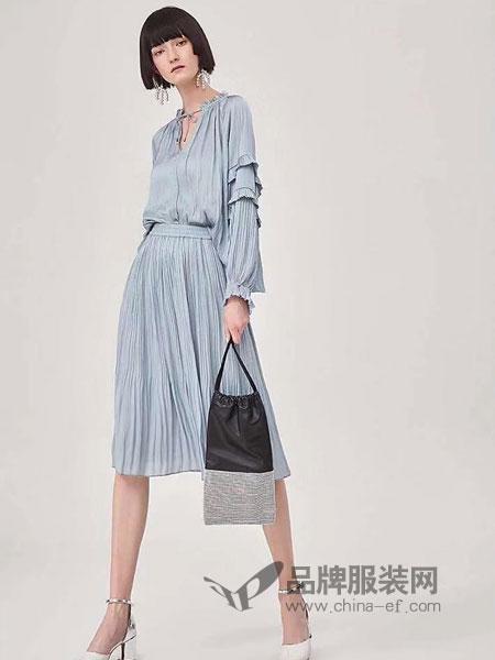 粵韻女裝品牌2019春季雪紡套裝裙兩件套