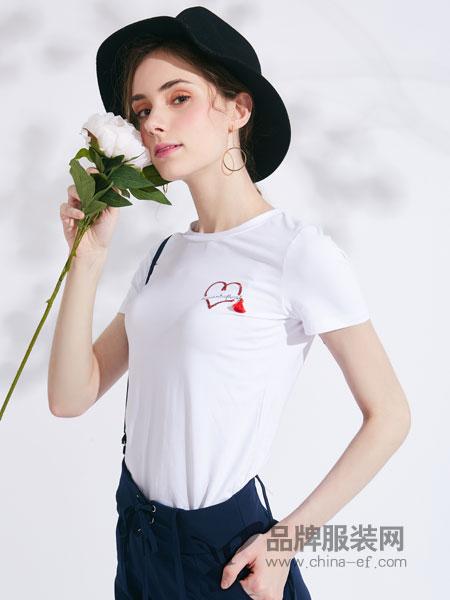 城市衣柜女装品牌2019春季新款刺绣白色T恤宽松纯棉上衣