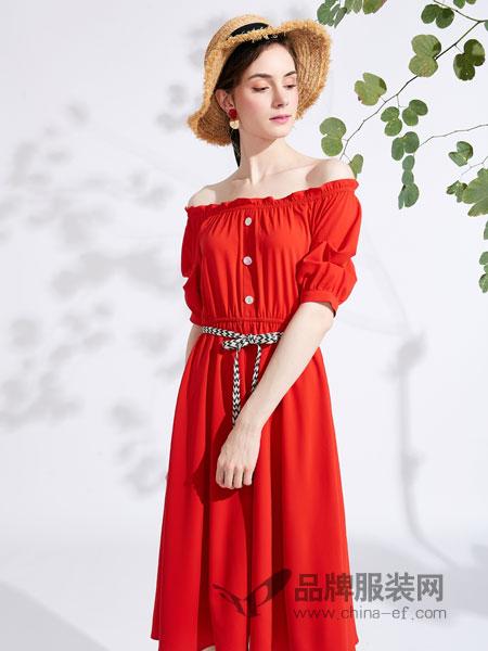 城市衣柜女装品牌2019春季新款时尚一字领灯笼袖系带连衣裙