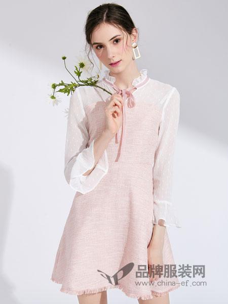 城市衣柜女装品牌2019春季复古绫絮粉白花边真丝连衣裙