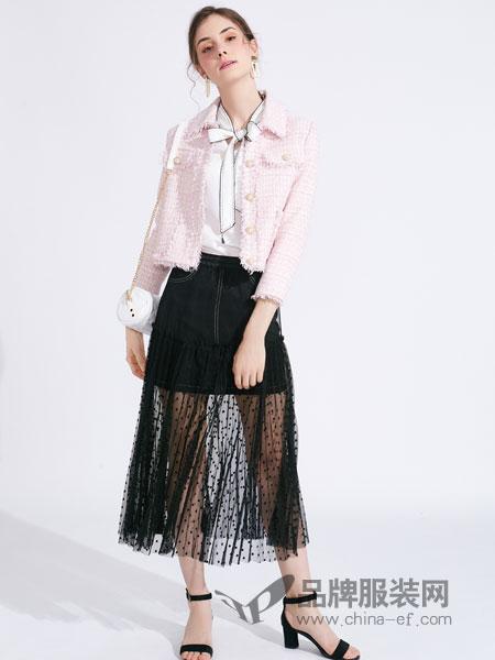 城市衣柜女装品牌2019春季韩版修身粉色外套长袖短款休闲夹克