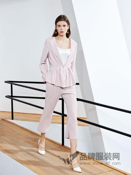 ECA女装品牌2019春季小香风气质名媛时尚套装西装阔腿裤两件套潮