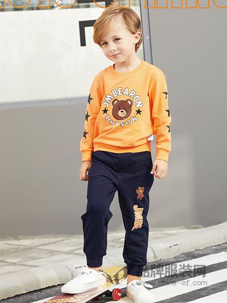 杰米熊童装品牌2019春季男孩帅气童装女童加厚套装