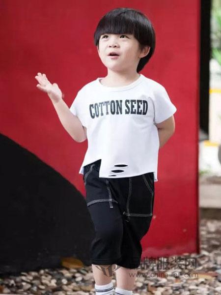 棉之子童装童装品牌2019春季新款中大儿童时尚短袖两件套