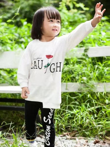 棉之子童装童装品牌2019春季新款时尚甜美荷叶袖V领小衫上衣