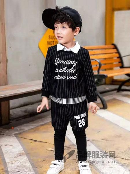 棉之子童装童装品牌2019春季儿童长袖条纹纯棉假三件套韩版潮