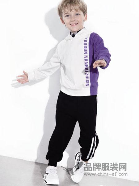 南西象童装品牌2019春季印花连帽卫衣三杠条纹哈伦束脚裤两件套