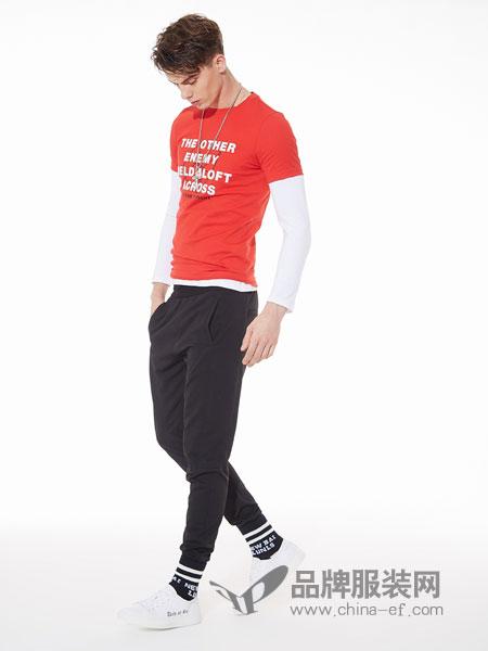佐纳利男装品牌2019春夏白色字母打底印花t恤短袖