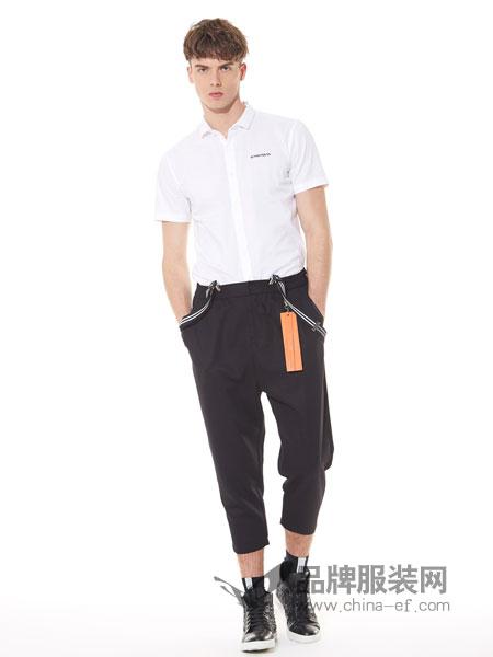 佐纳利男装品牌2019春夏商务休闲帅气刺绣白衬衣半袖