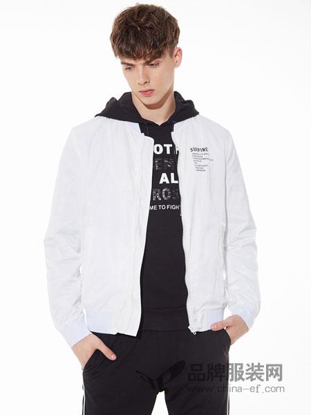 佐纳利男装品牌2019春夏简约修身外穿夹克白色长袖休闲外套