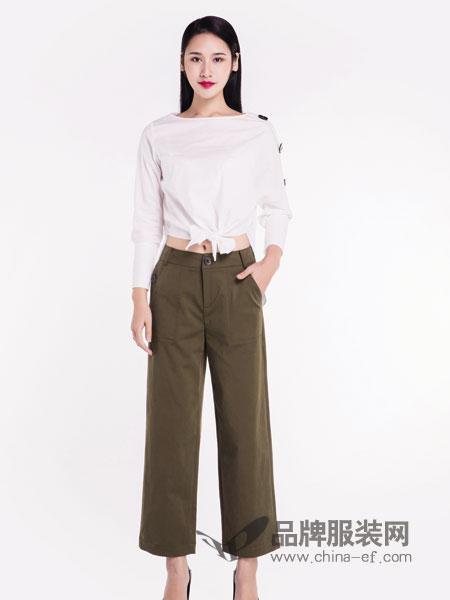 宝薇女装品牌2019春季连腰休闲高腰显瘦九分裤阔腿裤
