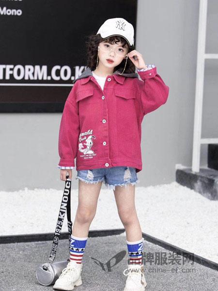 奇妙城堡童装品牌2019春季翻领长袖可爱舒适时尚普通外套单排女童