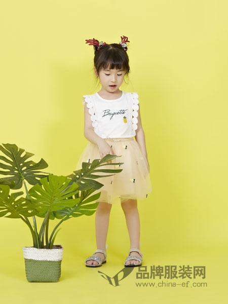 力果童装品牌2019春季儿童韩版T恤短袖网纱裙两件套