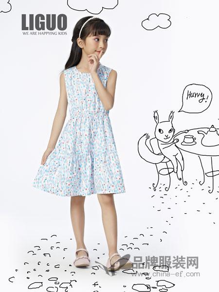 力果童装品牌2019春季女童纯棉浅蓝色银杏叶连衣裙无袖百褶裙