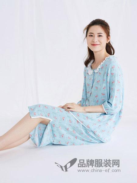 天竹健康生活馆内衣品牌2019春季 宽松V领连衣睡裙