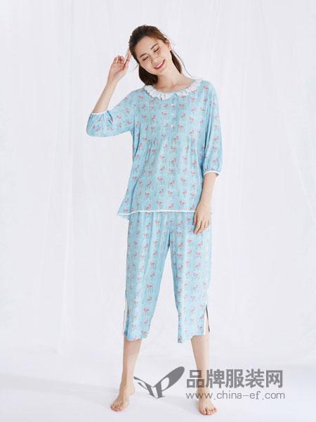 天竹健康生活馆内衣品牌2019春季薄款睡衣短袖绵绸服连衣裙
